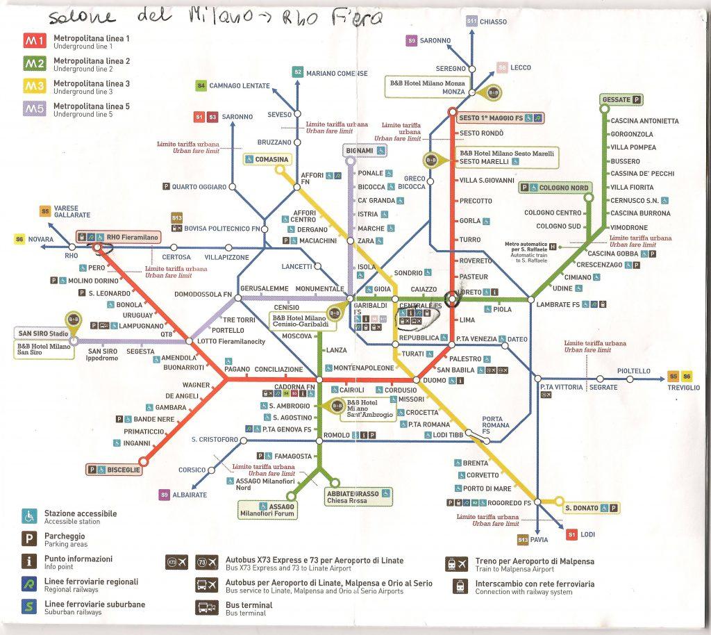Mapka metra i busów Mediolan
