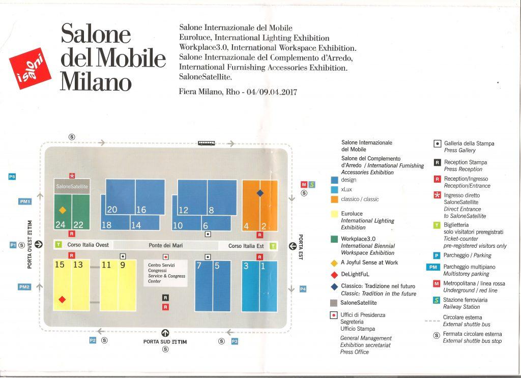 mapka targów wnętrz salone del Milano