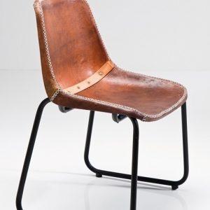 Krzesło vintage eklektyczne ze skóry i metalu