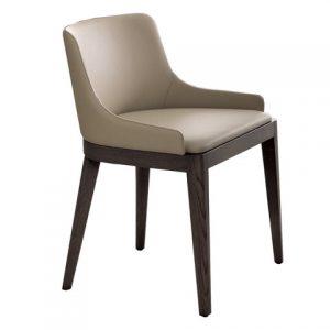 Krzesło w stylu włoskim, modernistycznym ze skóry i drewna