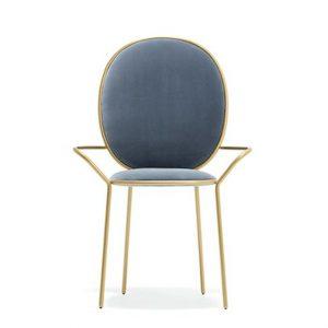 Złoto niebieskie krzesło glamour