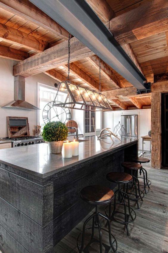 Eklektyczny styl rustykalno modernistyczna kuchnia