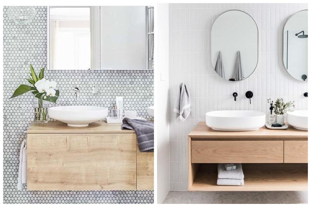 Drewniane meble w skandynawskiej łazience