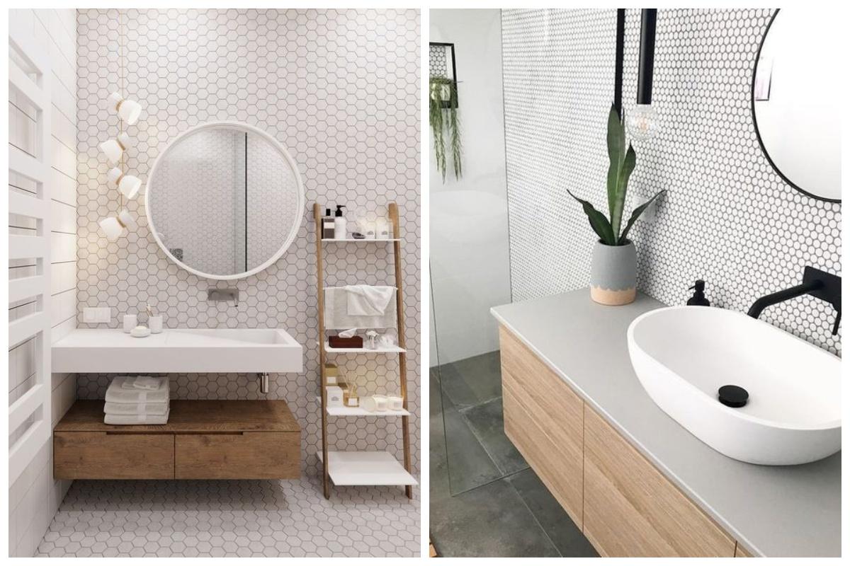 Skandynawska łazienka z drewnem
