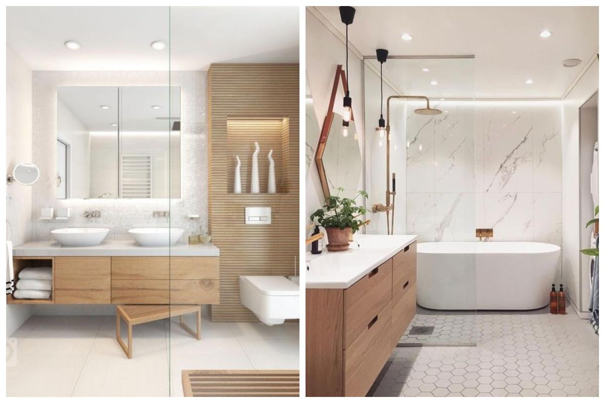 Skandynawska łazienka z prysznicem i wanną