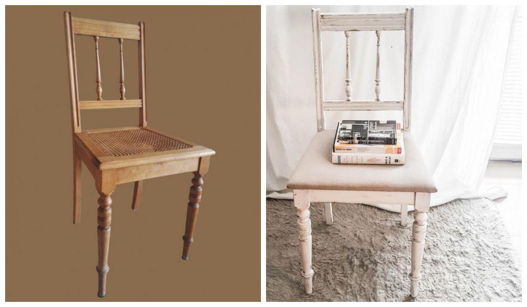 Metamorfoza krzesła przed i po