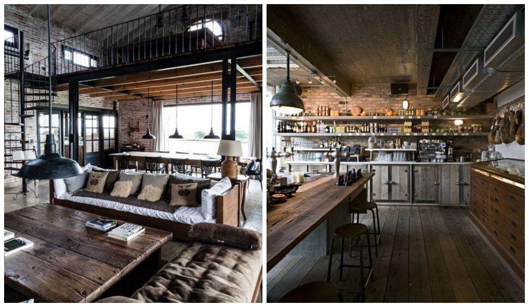 Salon i kuchnia w stylu industrialnym