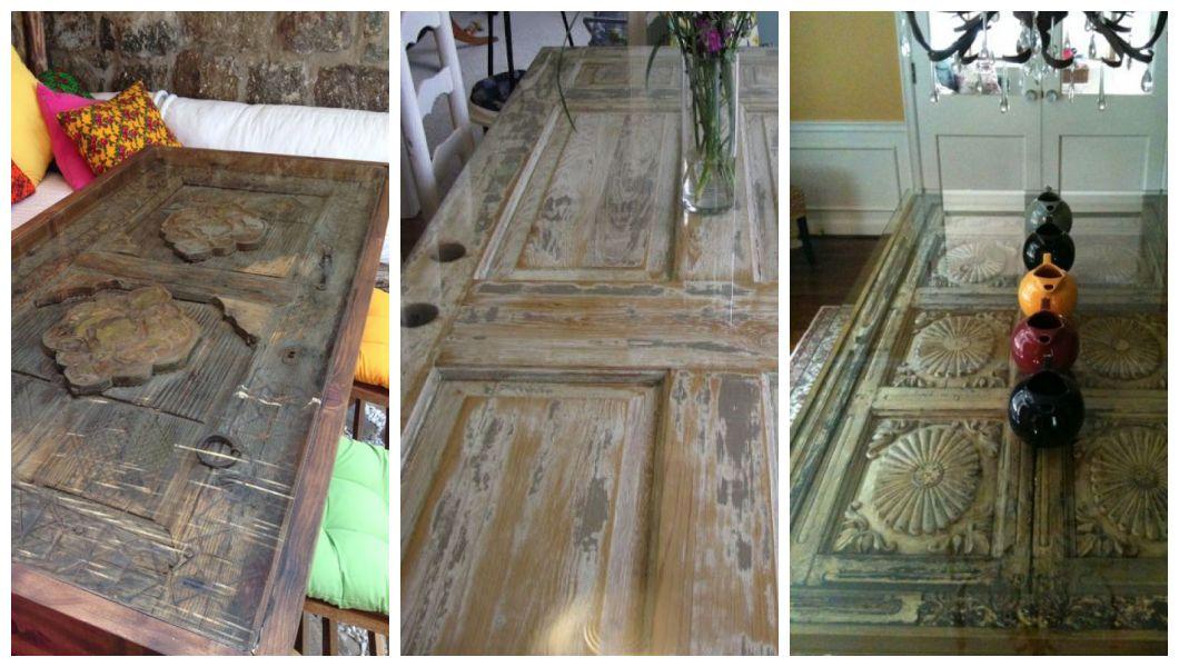 Stół ze starych drzwi i szkła