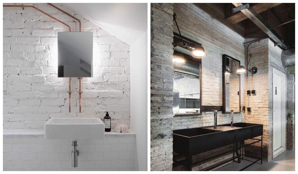 Łazienka loft biała cegła