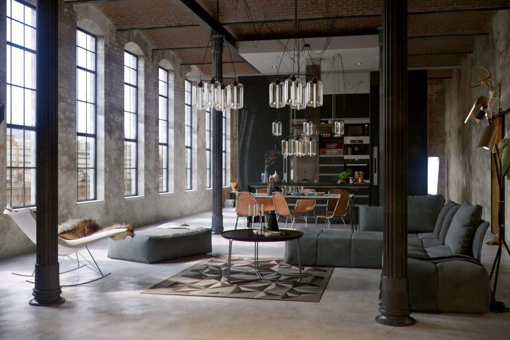 Duży industrialny salon