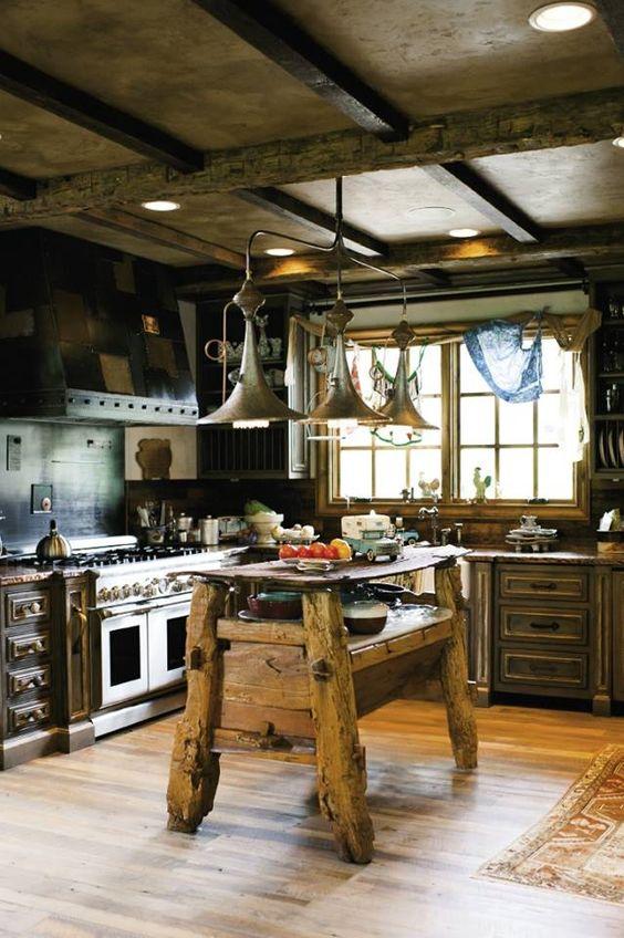 Wyspa kuchenna w stylu rustykalnym