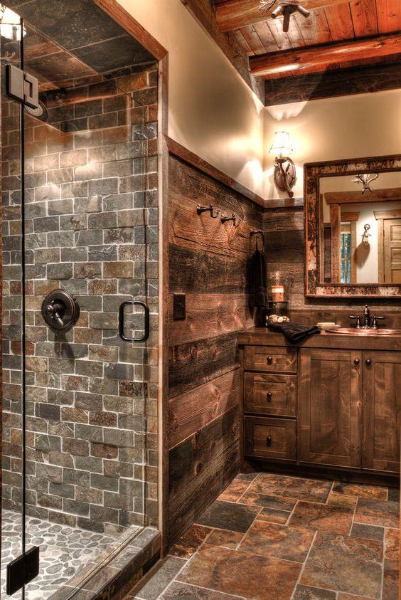 Kamień i drewno w łazience