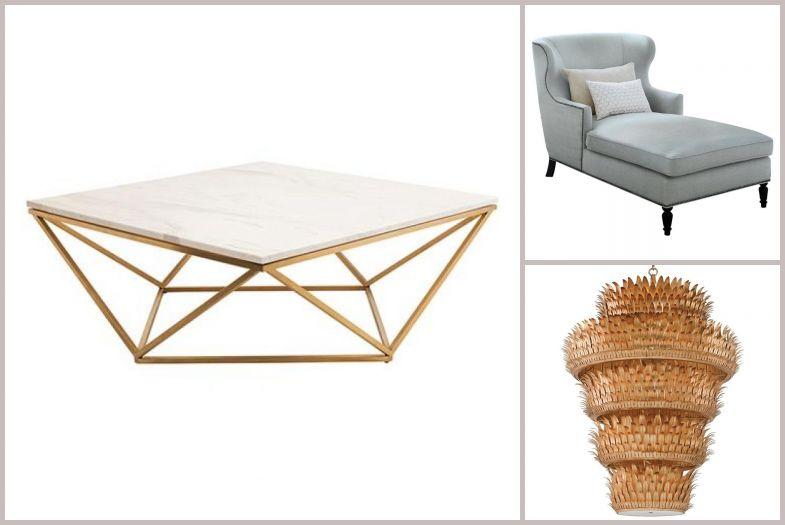 Stół ze złotymi nogami i kamiennym blatem
