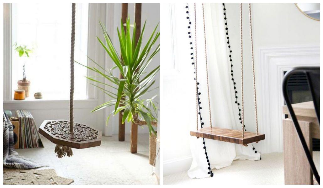 Drewniane siedzisko i sznurkowe rączki huśtawki