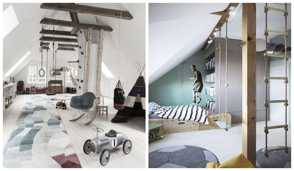 Chłopięcy pokój z belkami stropowymi