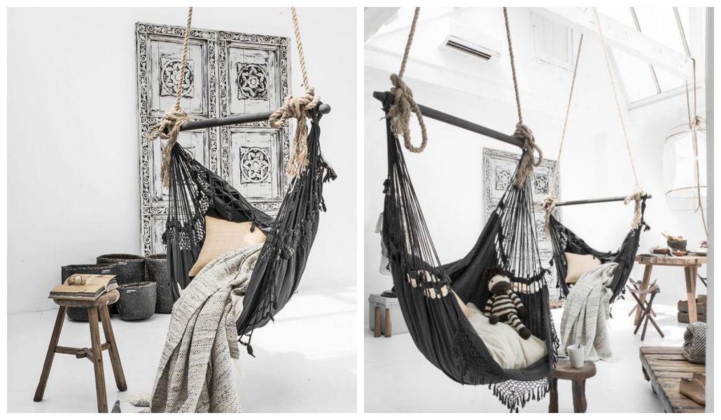 Huśtawka do pokoju zawieszona na sznurkach