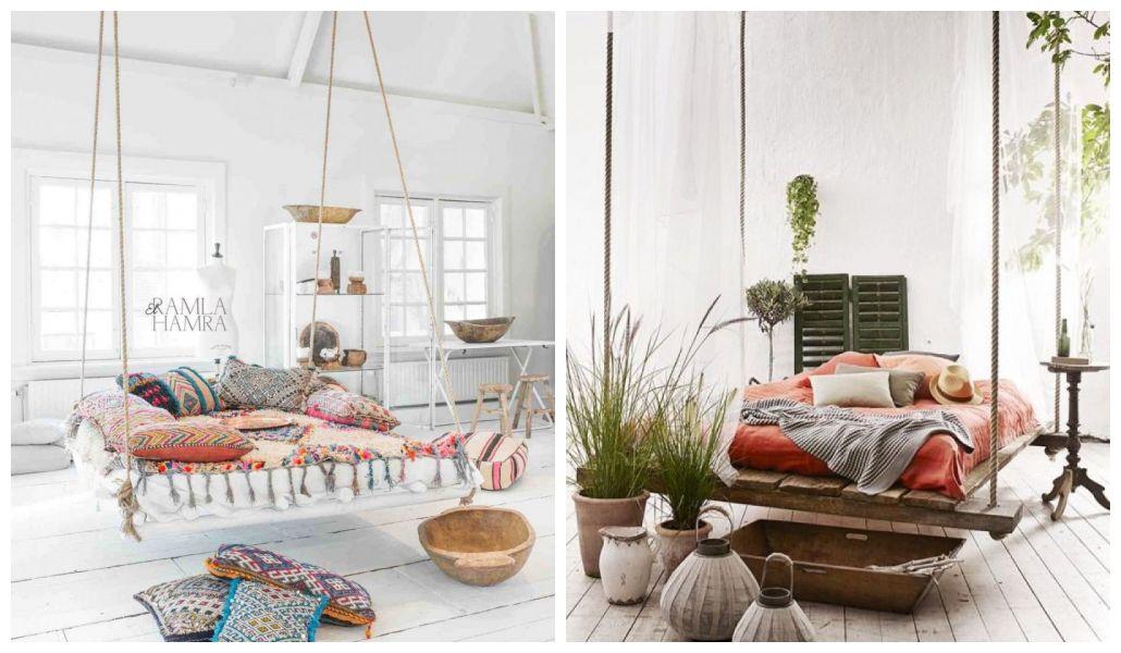 Sypialnia z wiszącym łóżkiem