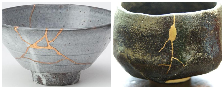 Kintsugi naprawianie złotem pękniętej ceramiki
