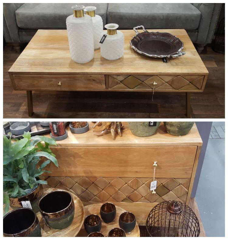 Stół i komoda z drewna z wycinanymi elementami Aluro