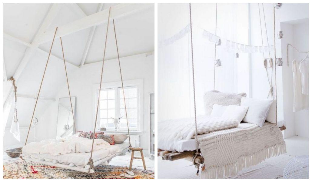 Łóżko podwieszane na sznurach
