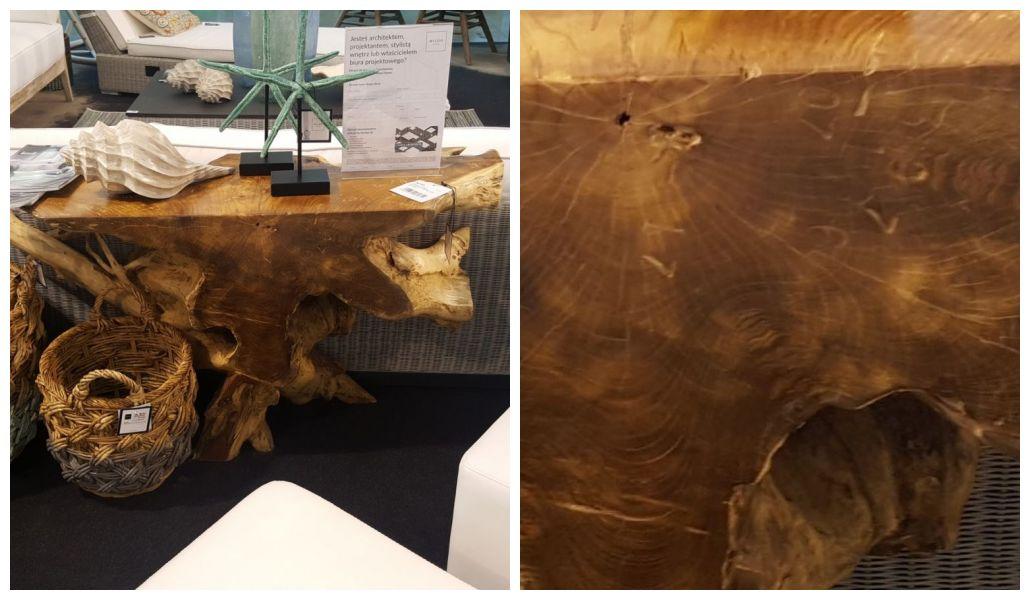 Drewniany stół organiczny kształt pnia Miloo