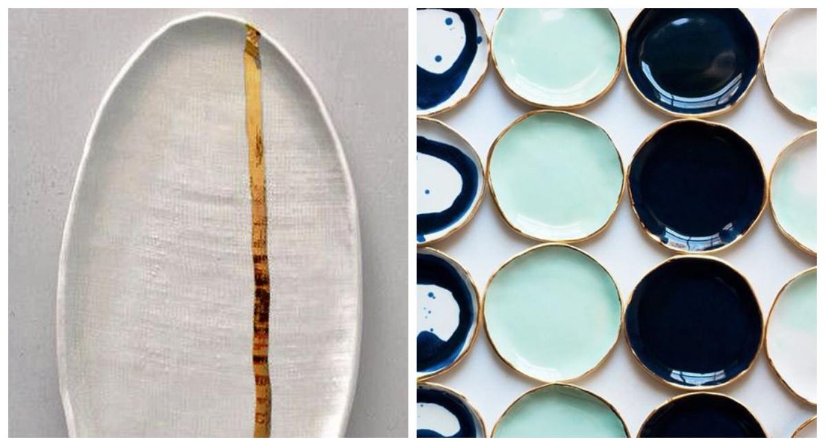 Złote i kolorowe talerze