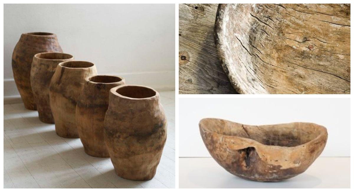 Drewniane misy i wazy wabi sabi