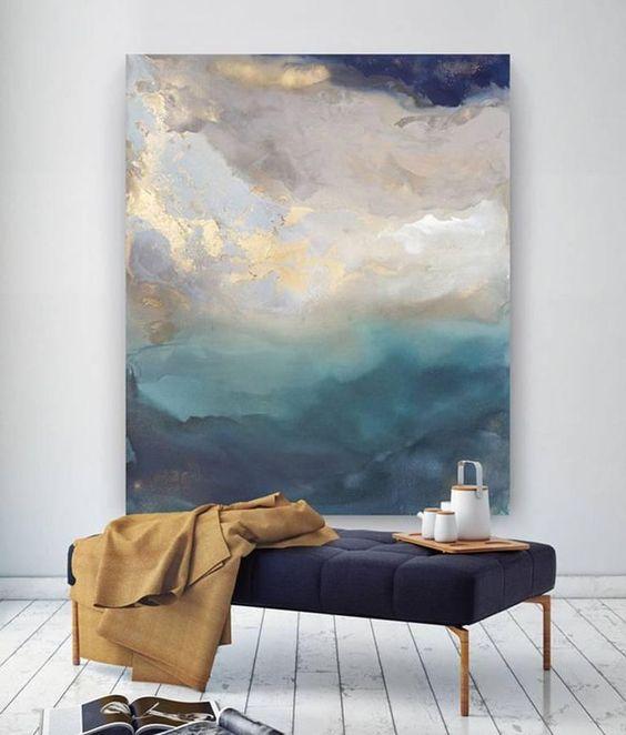 Współczesny obraz barwnych płaszczyzn w odcieniach niebieskości