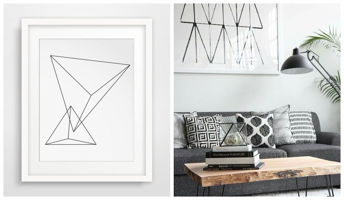 Obrazy abstrakcyjne geometryczne w salonie