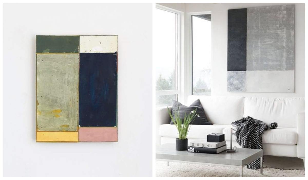 Obraz geometryczna abstrakcja w salonie
