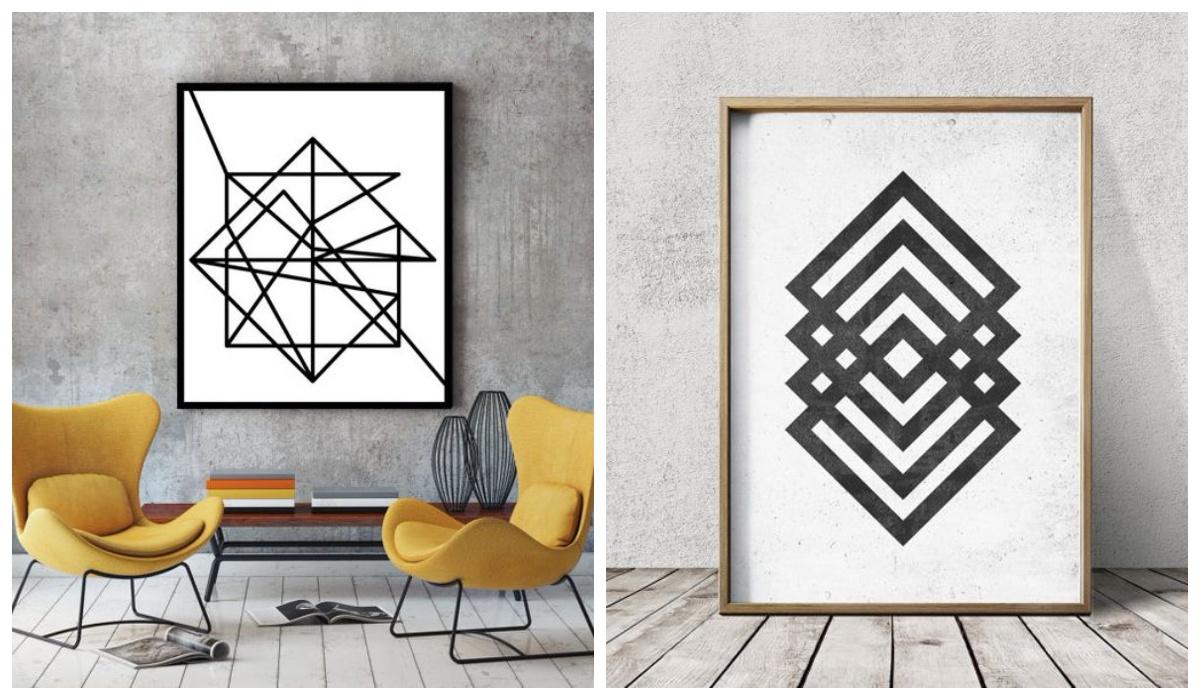 Obrazy grafiki do salonu z kwadratów
