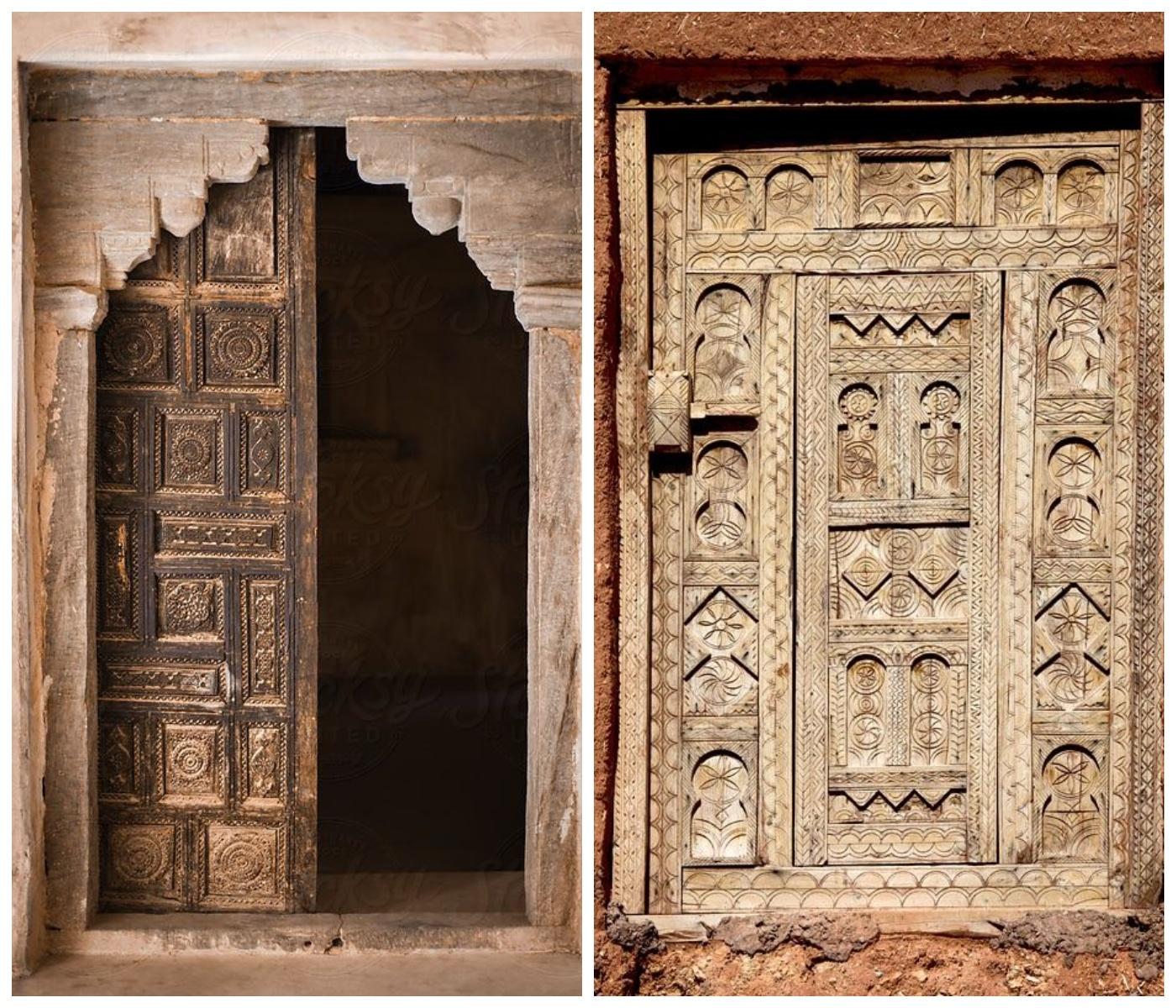 Stare rzeźbione drewniane drzwi