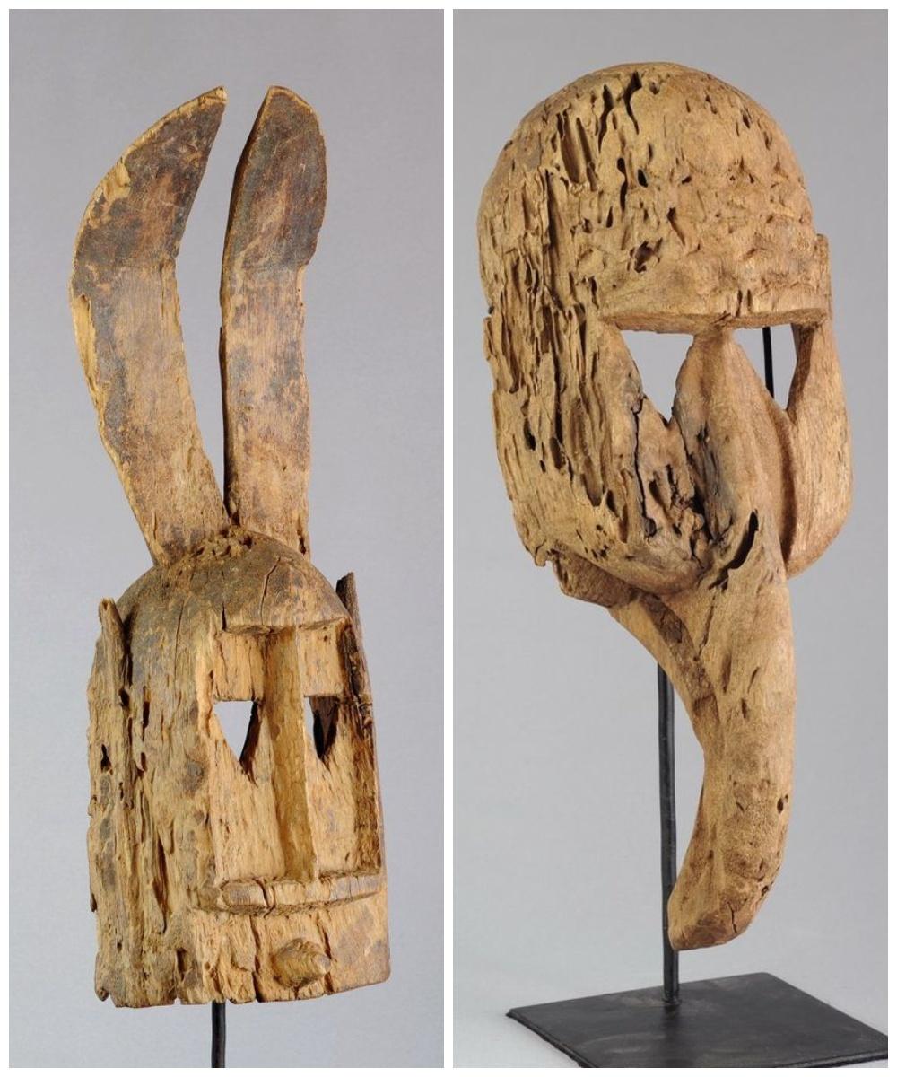 Królik i ptak figurka z drewna plemienia dogonów