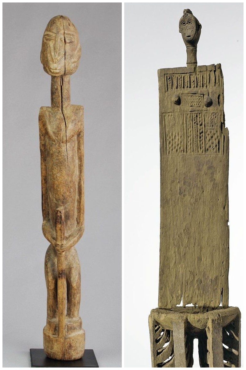Drewniane afrykańskie figurki Dogonów z Mali