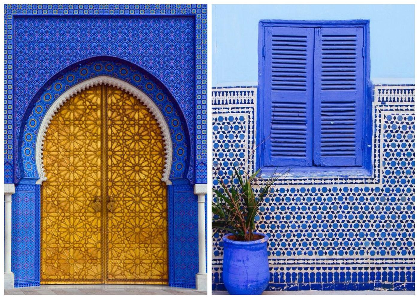 Niebiesko żółte marokańskie domy