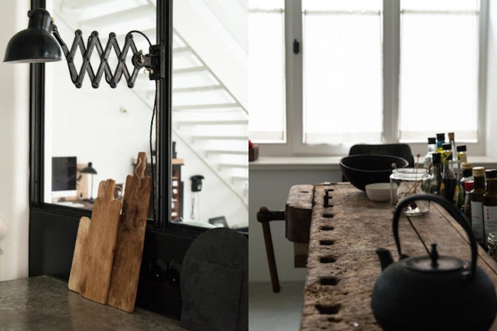 Industrialna kuchnia i rustykalna wyspa kuchenna