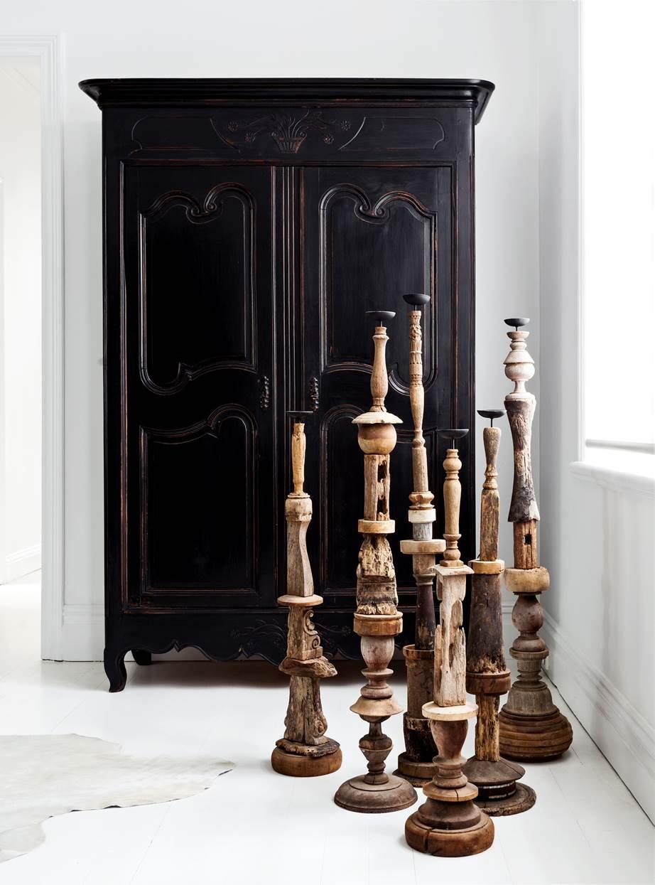 Duże drewniane świeczniki toczone rustykalne