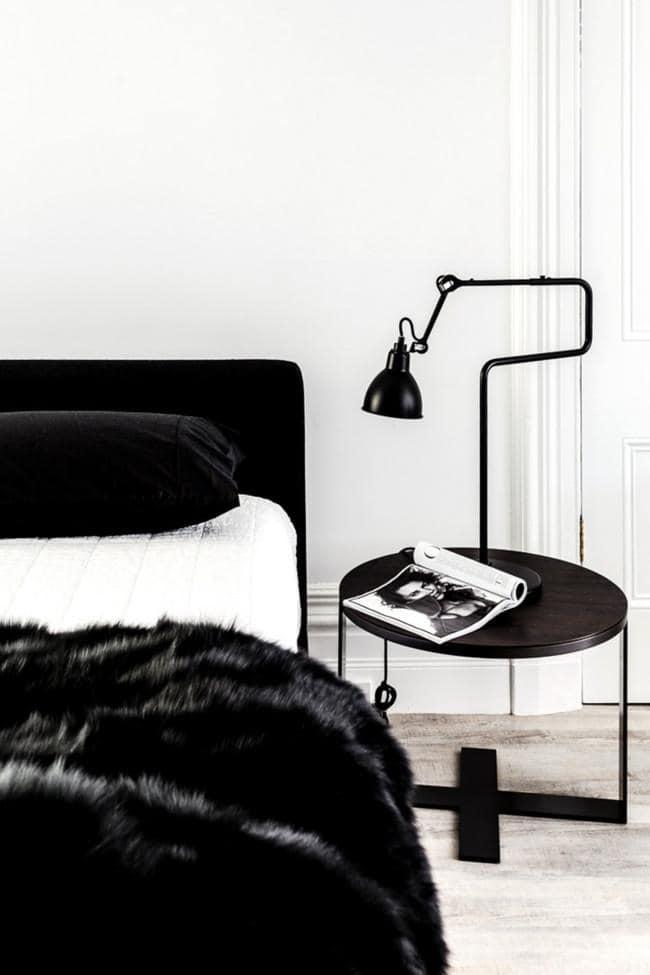 Pled kapa na łóżko z czarnego futra