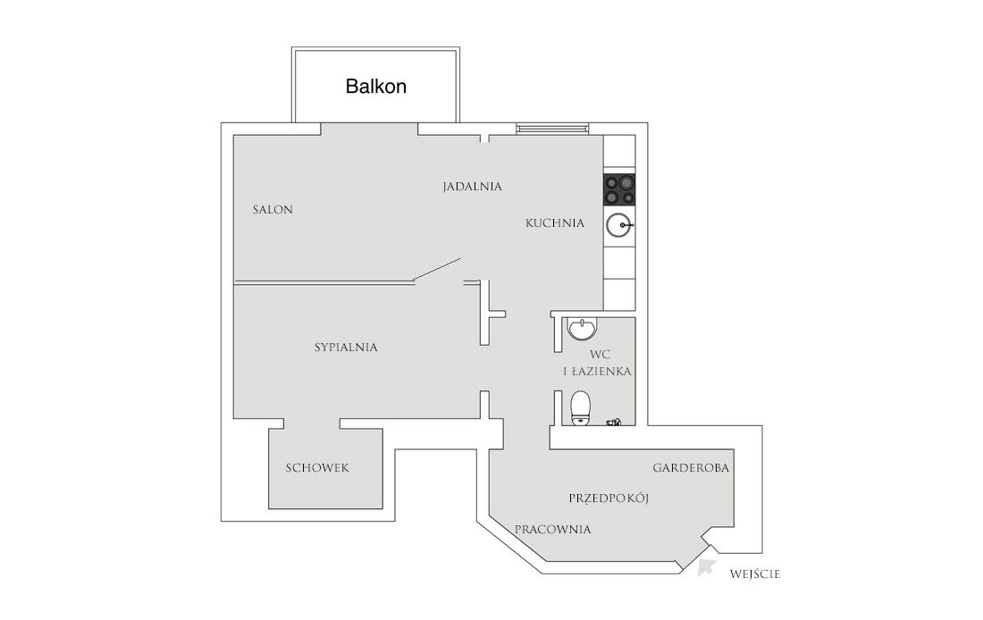 Plan małego mieszkania w bloku