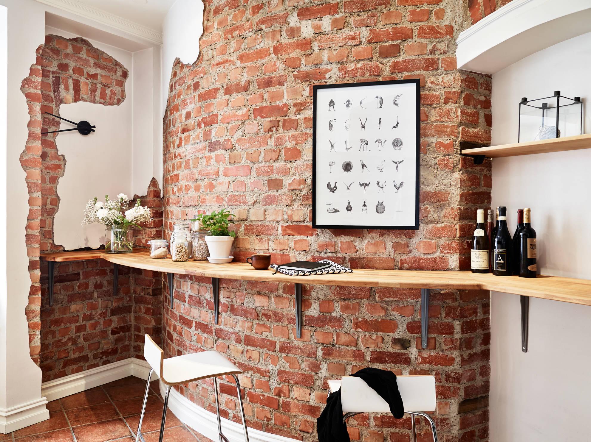 Łuk w kuchni z cegły porozbiórkowej