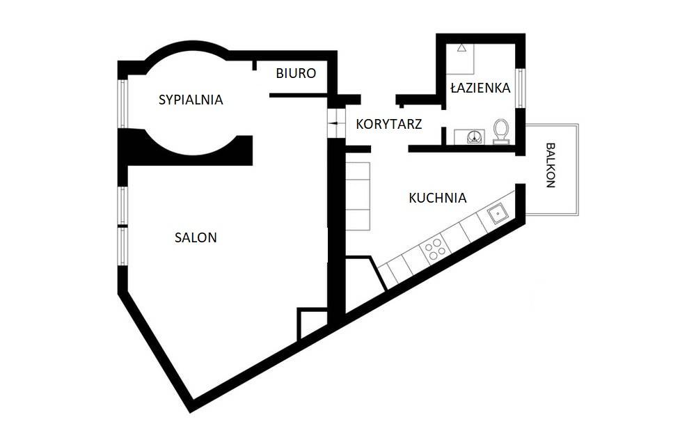 Rozkład mieszkania na poddaszu