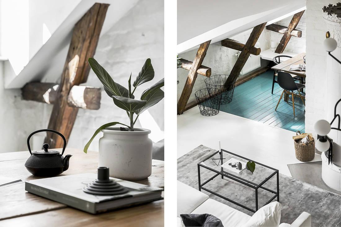 Belki stropowe z drewna na poddaszu