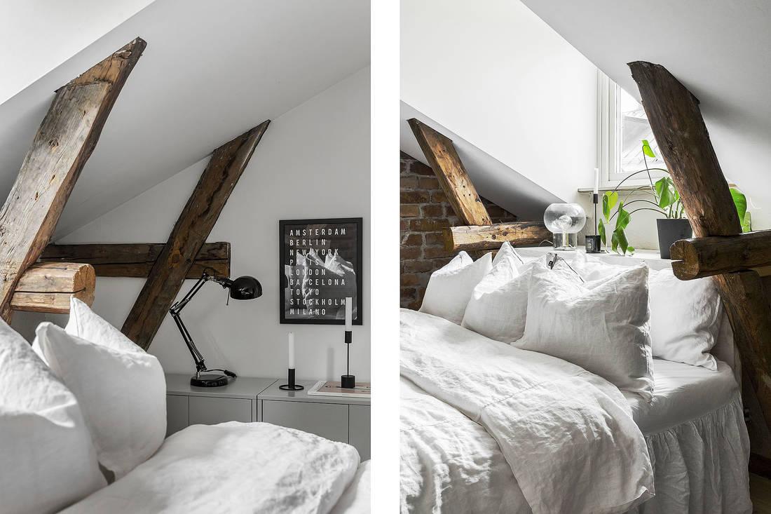 Belki stropowe w sypialni