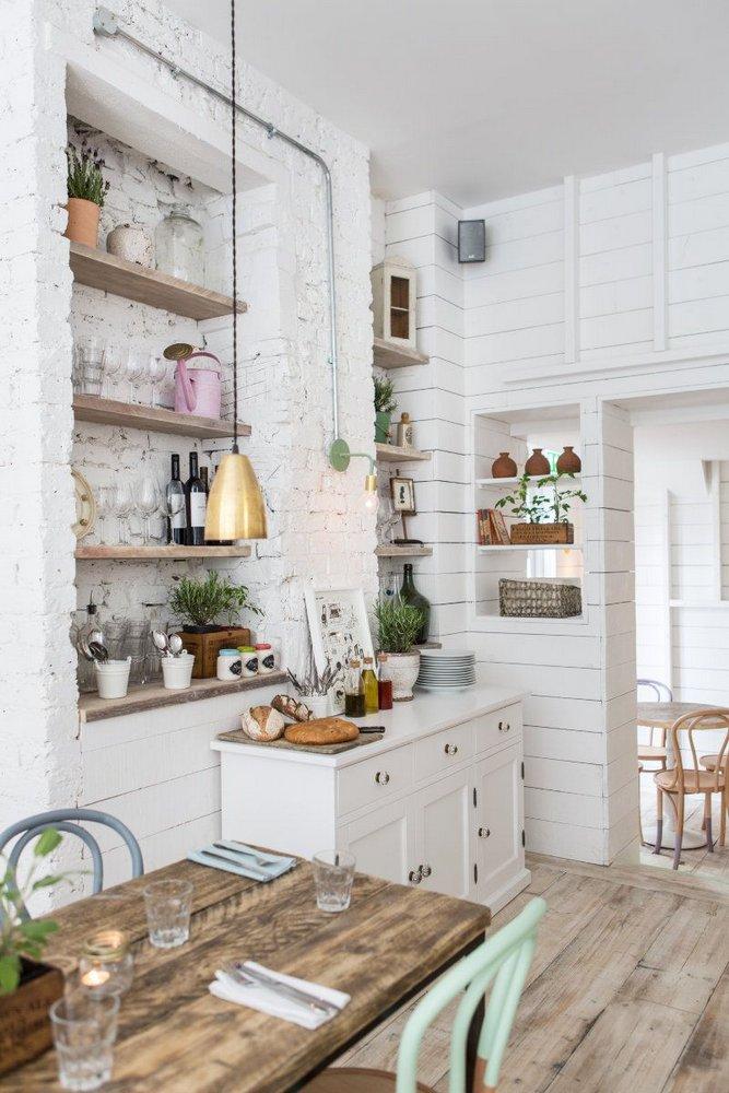 Biała cegła w kuchni