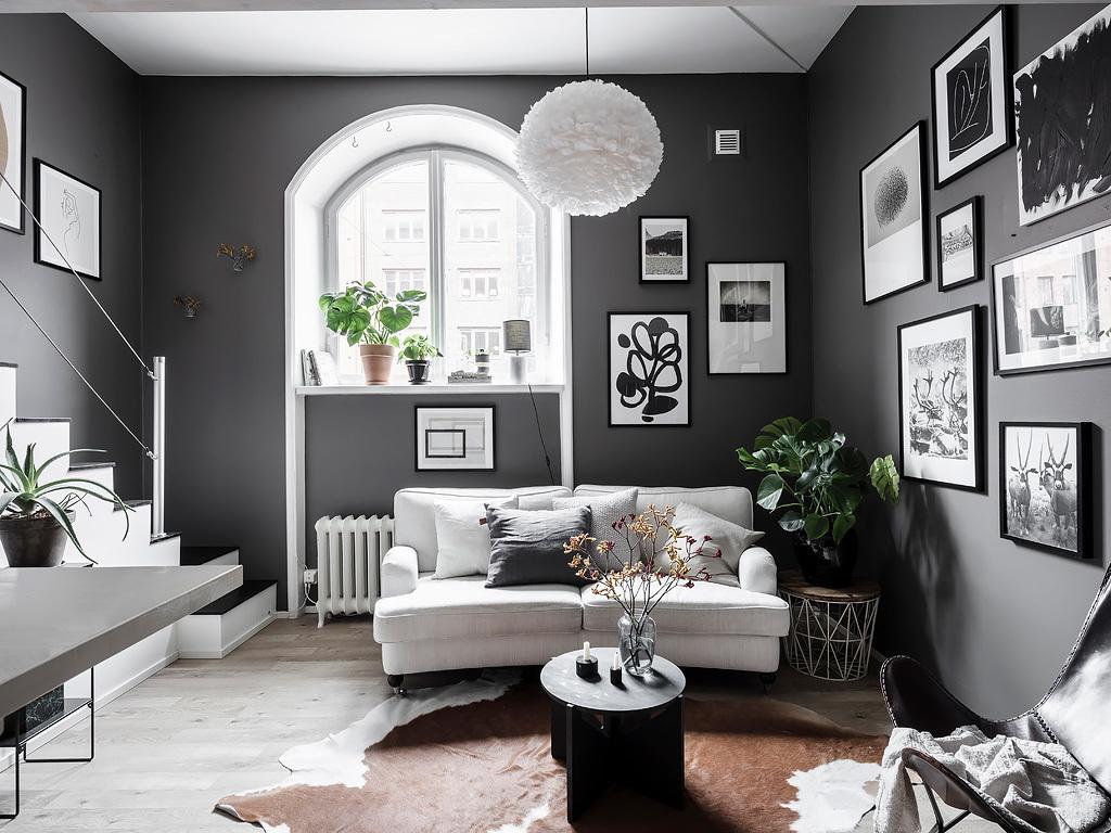 Salon w kolorze szarym