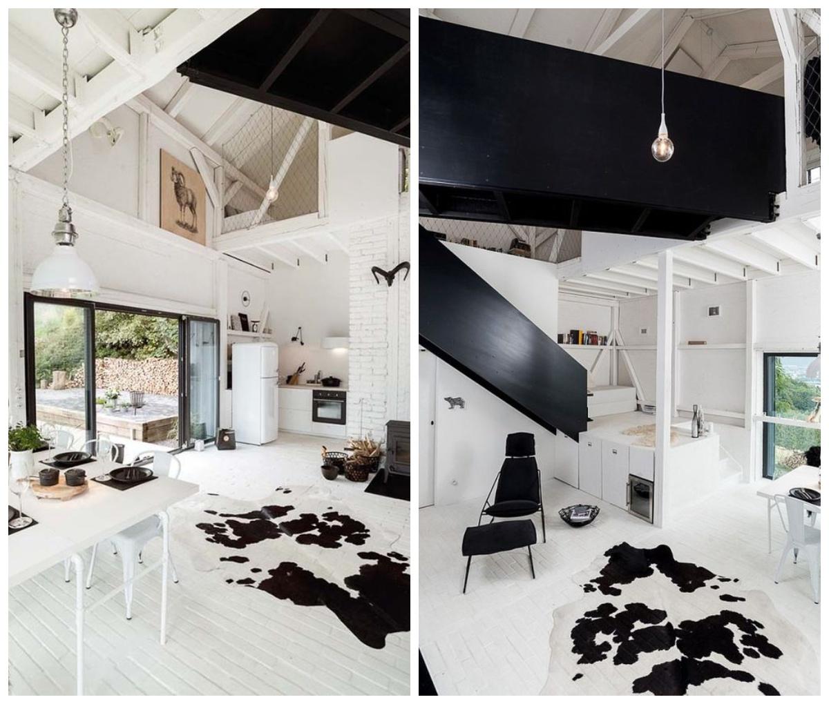 Biało czarny dom z antresolą