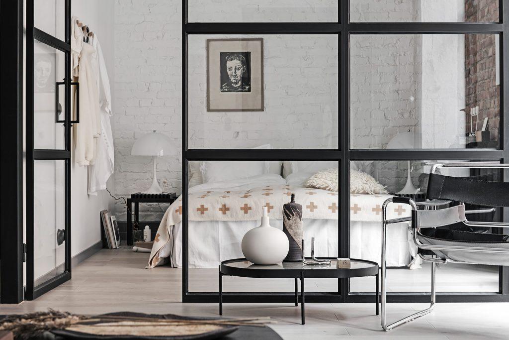 Szklana ściana do sypialni