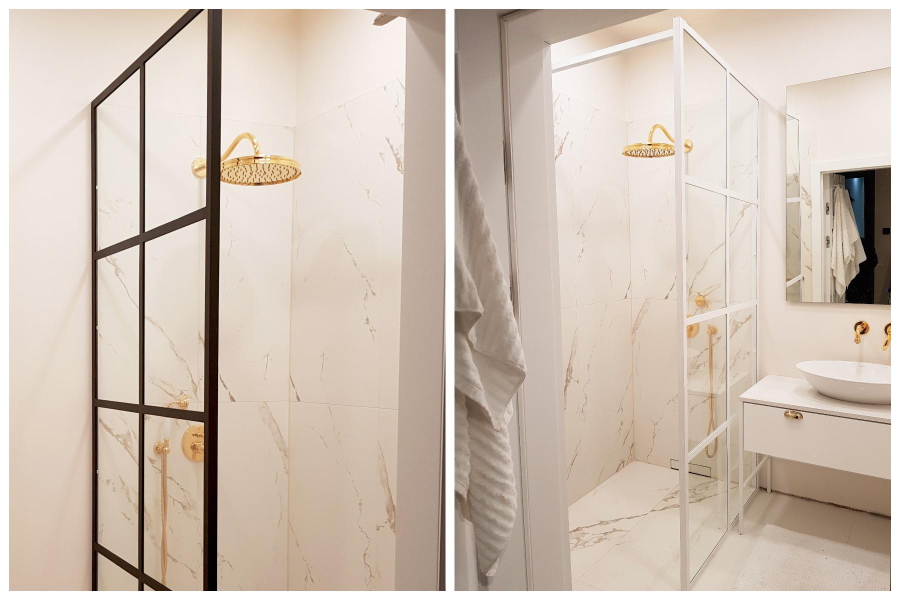Ścianka prysznicowa walk in ze szprosami