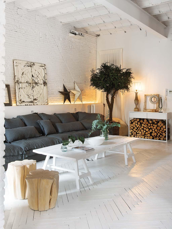 Salon w stylu rustykalno industrialnym