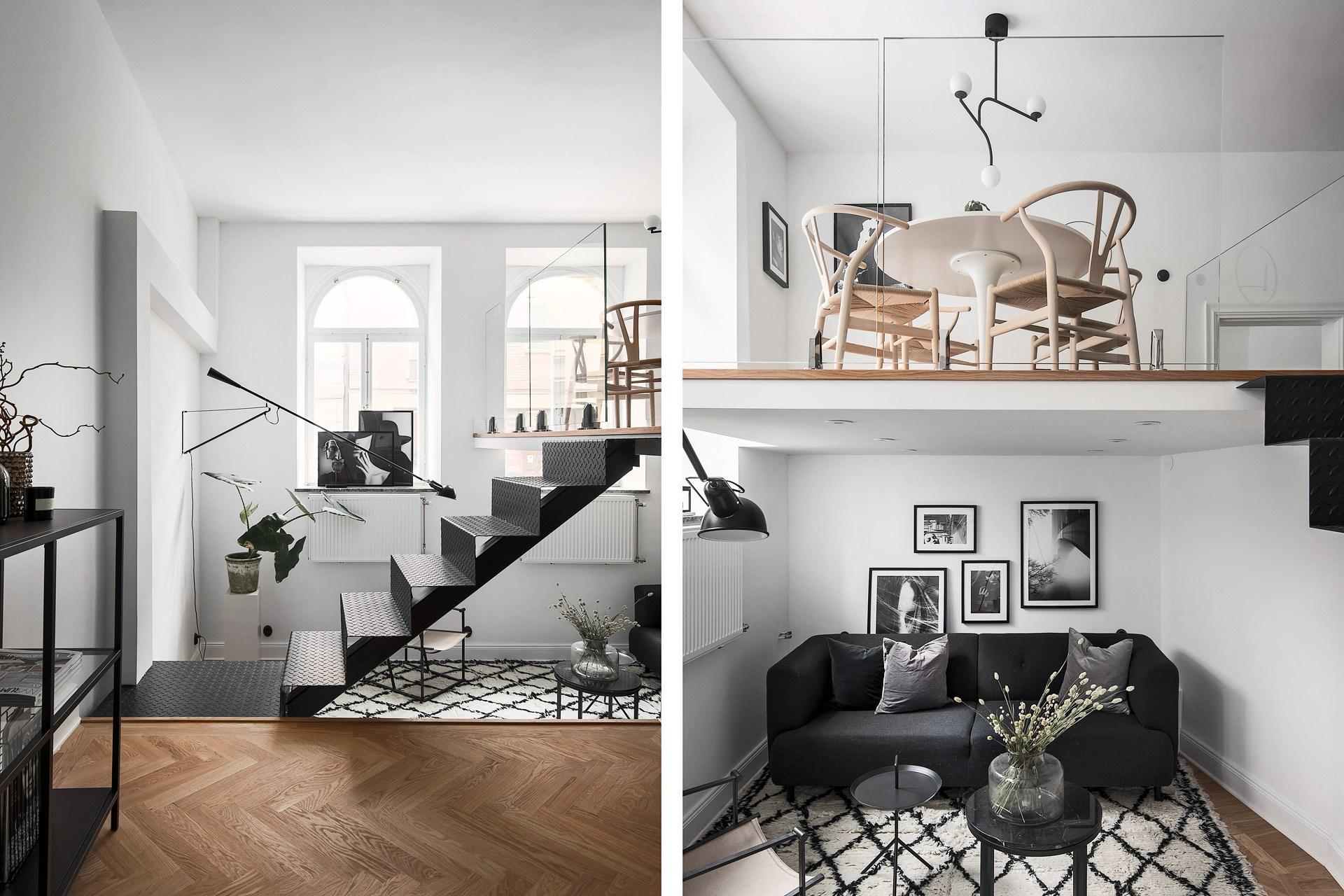 Wielopoziomowe mieszkanie w stylu skandynawskim